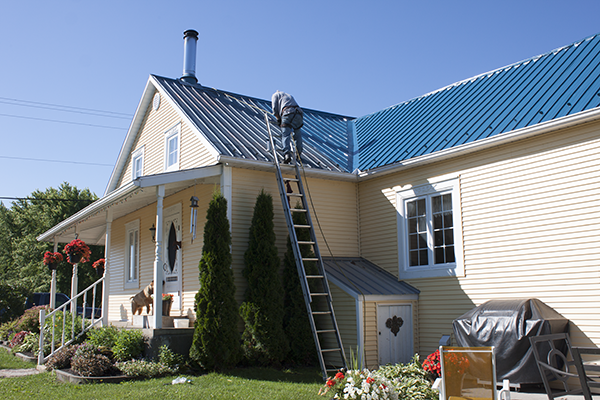 Painting a tin roof